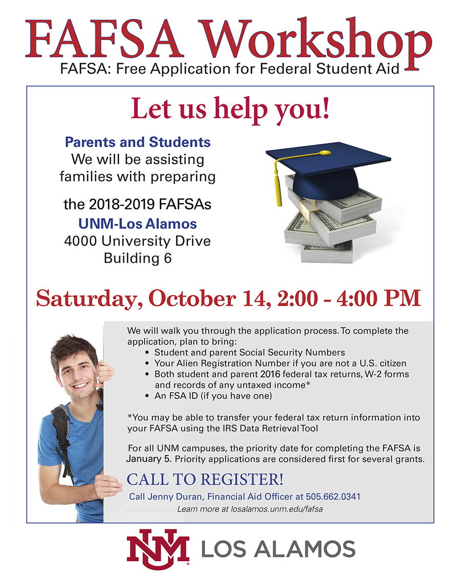 FAFSA workshop October 14 2-4pm