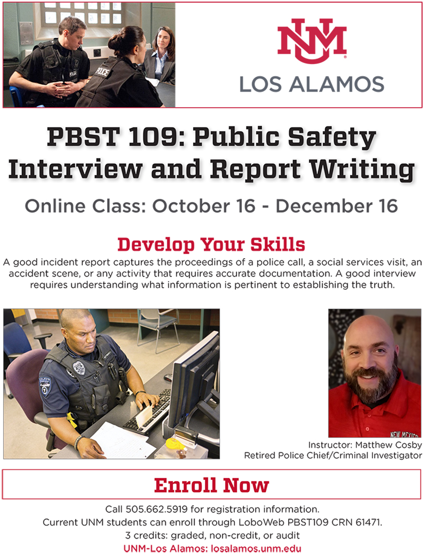 Public Safety Interview and Report Writing Oct. 16 - Dec. 16
