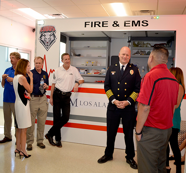 Visitors tour the ambulance simulator